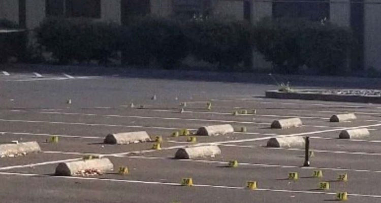 Photo of crime scene evidence markers at the parking lot of the Searles Elementary School in Union City