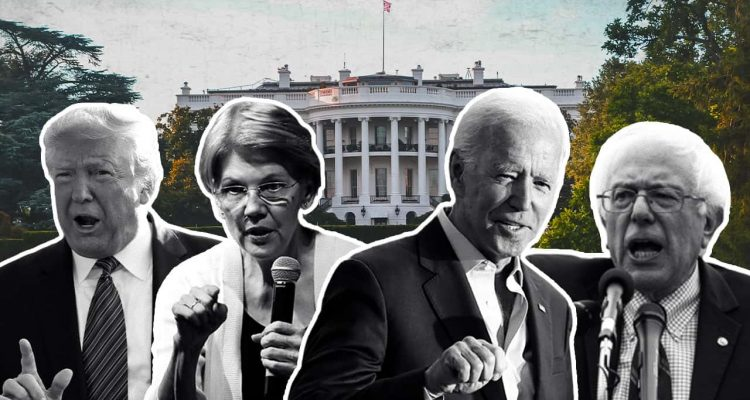 Photo collage of President Donald Trump, Elizabeth Warren, Joe Biden, and Bernie Sanders