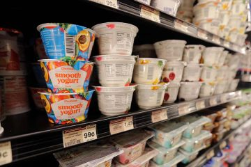 Photo of yogurt on shelves