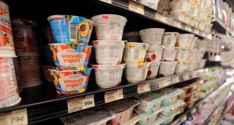 Photo of yogurt on shelves