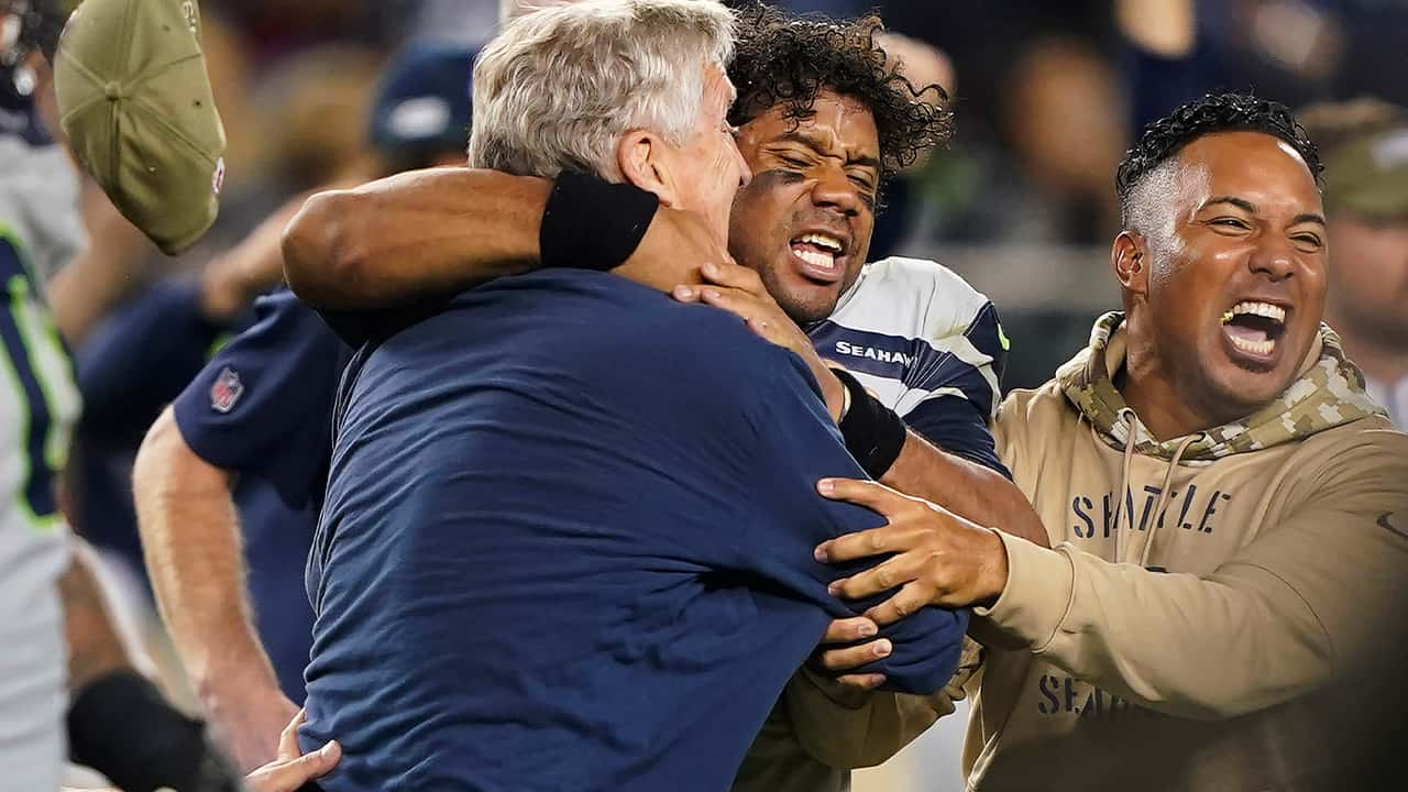Photo of Seattle Seahawks head coach Pete Carroll and quarterback Russell Wilson