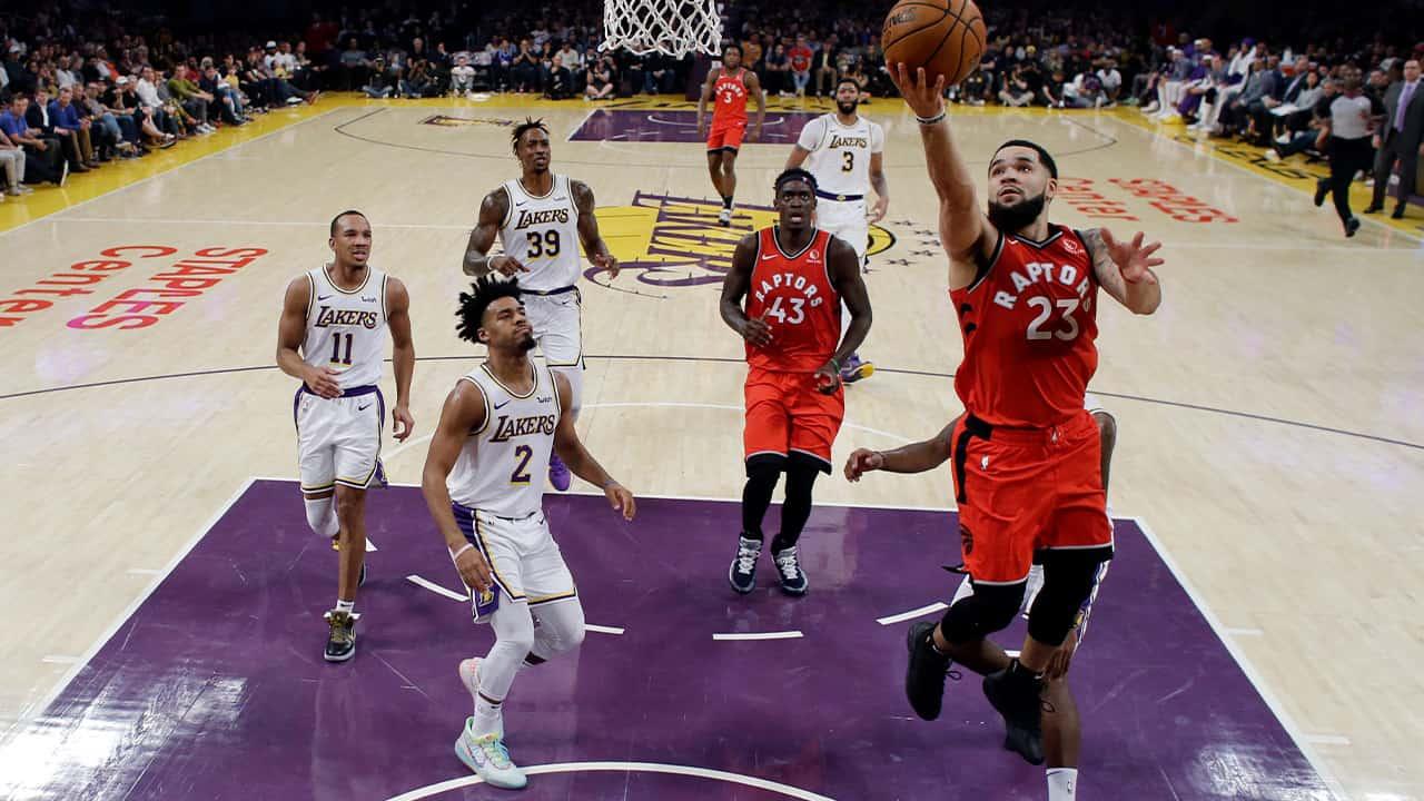 Photo of Toronto Raptors' Fred VanVleet scoring against the Los Angeles Lakers