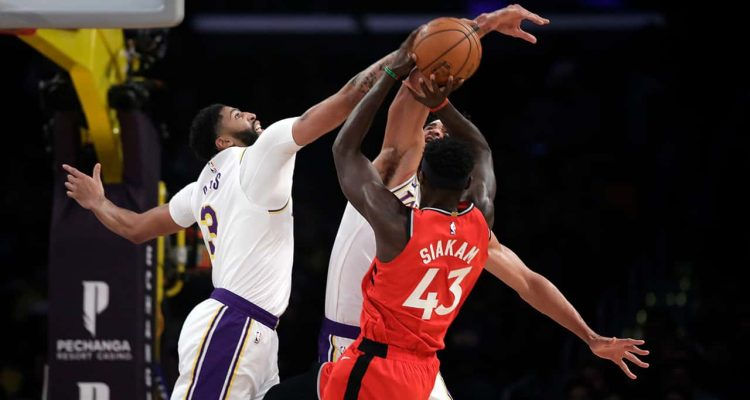 Photo of Los Angeles Lakers' Anthony Davis and Toronto Raptors' Pascal Siakam