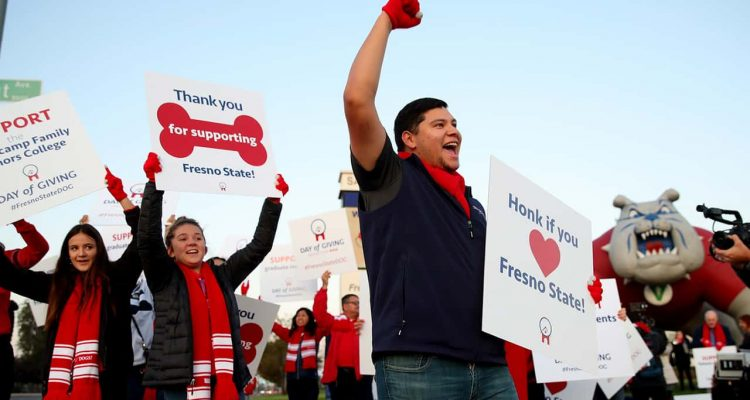 Photo of Fresno State students during the university's annual online Day of Giving
