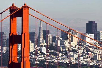 Photo of San Francisco skyline and Golden Gate Bridge