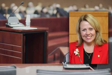 Composite photo of former DA Elizabeth Egan and a courtroom