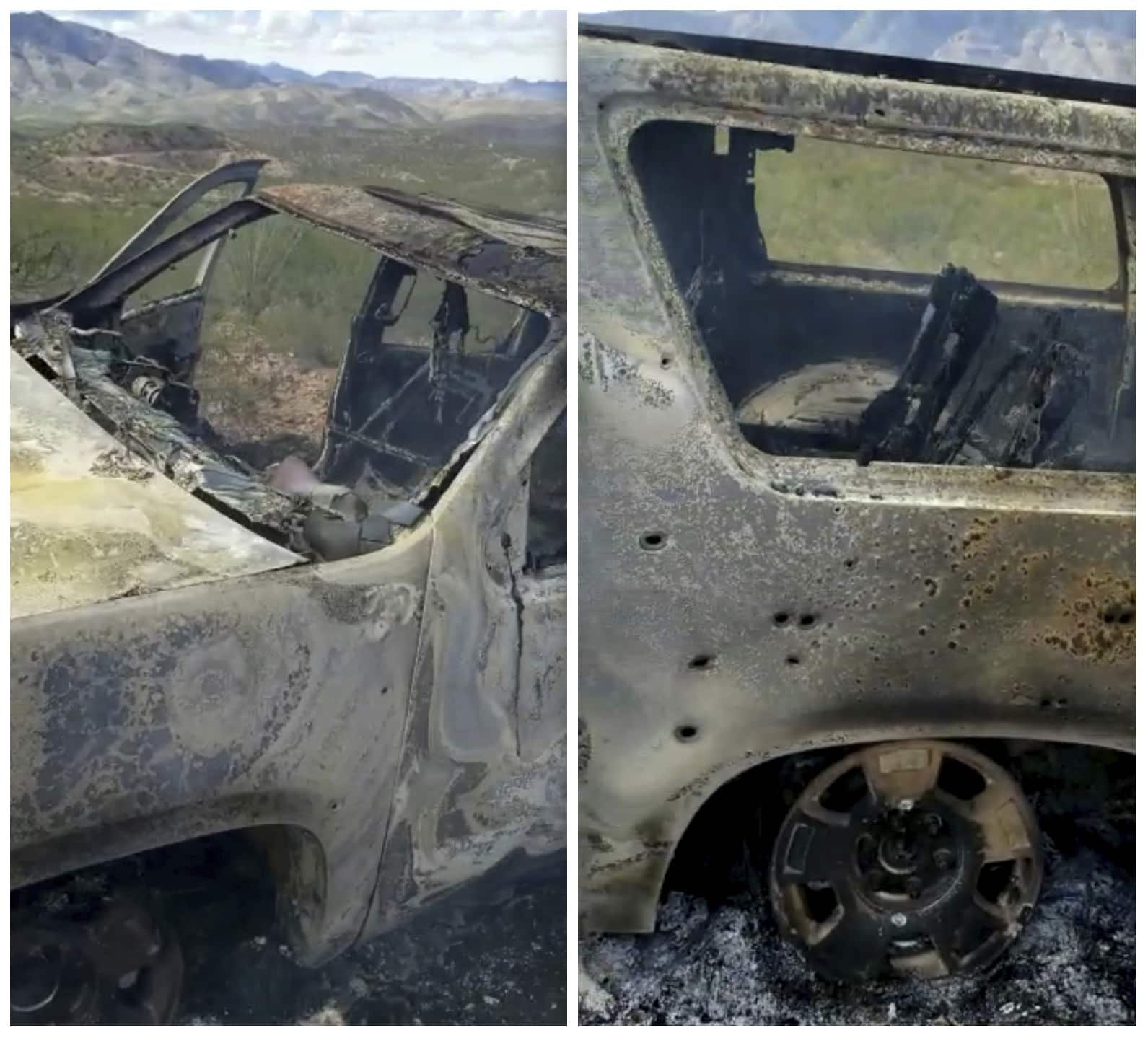 Photo of burned-out vehicle