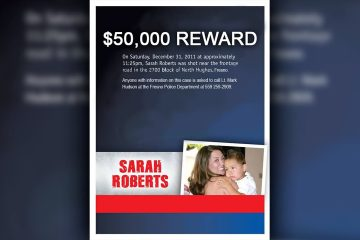 Composite of a murder victim with her child and $50,000 reward headline