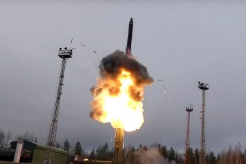 Photo of an intercontinental ballistic missile lifts off from a truck-mounted launcher somewhere in Russia