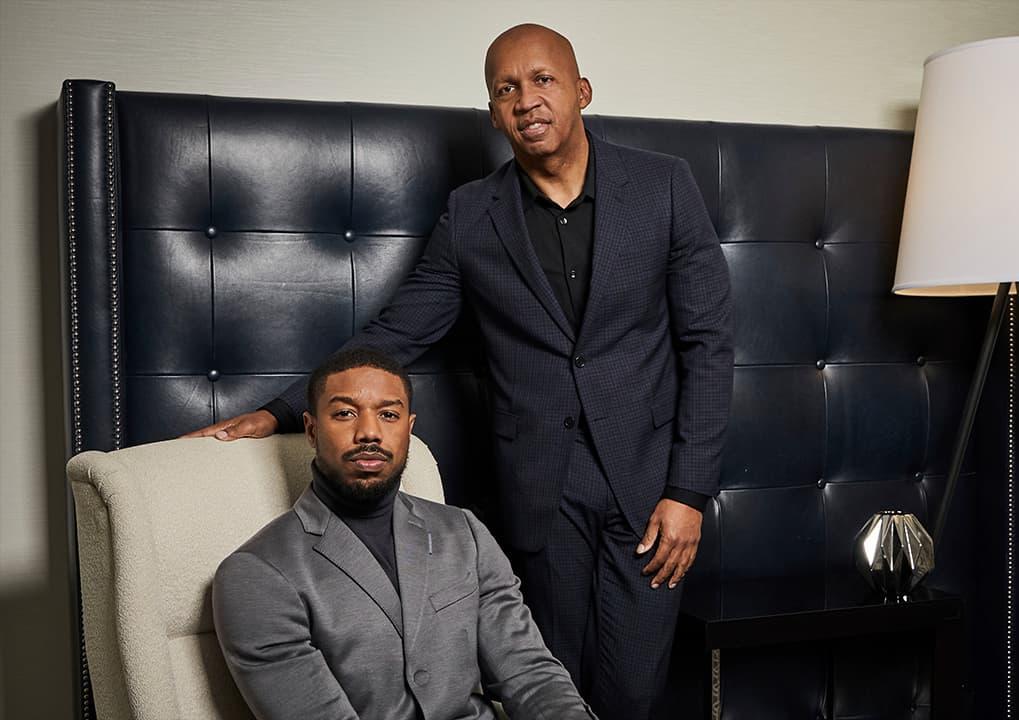 Photo of Michael B. Jordan, left, and civil rights attorney Bryan Stevenson
