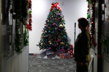 Photo of a Christmas tree in the NORAD Tracks Santa Center at Peterson Air Force Base