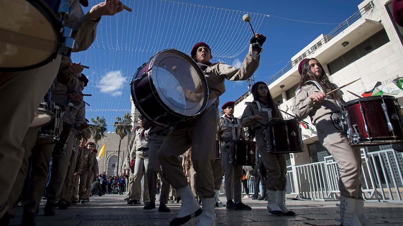Photo of Palestinian Scout marching band