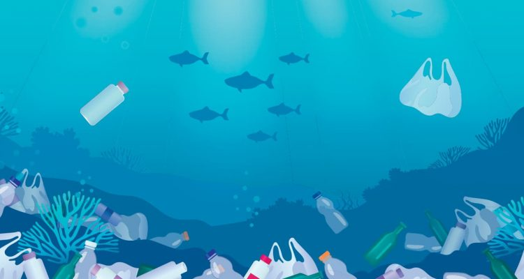 Photo illustration of garbage in the ocean