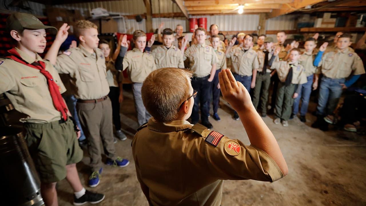Photo of Boy Scouts troop during their meeting