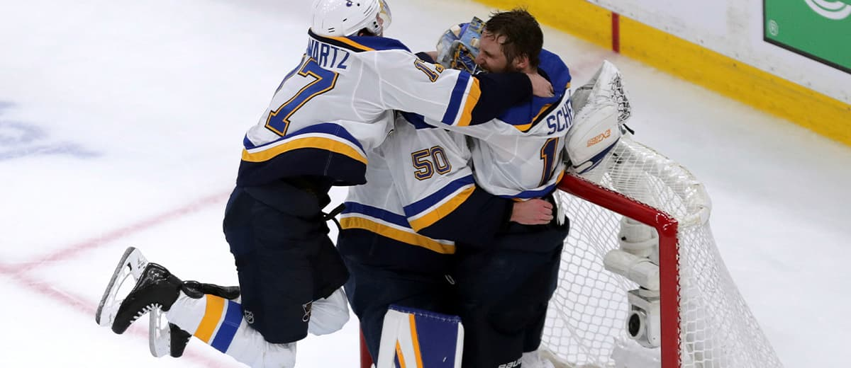 Photo of NHL players celebrating after winning the Stanley Cup Final