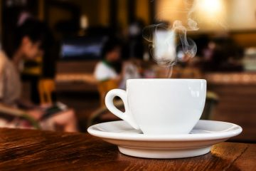 photo of a cup of coffee in a coffee shop