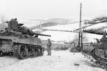 Photo of tanks in Belgium in 1945