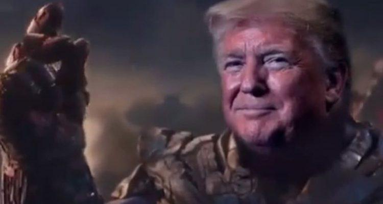Photo of President Donald Trump's face superimposed onto Thanos' body