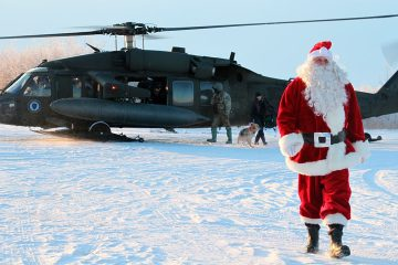 Photo of Santa Claus arriving in Napakiak, Alaska