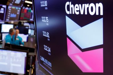 Photo of the logo for Chevron on the floor of the New York Stock Exchange