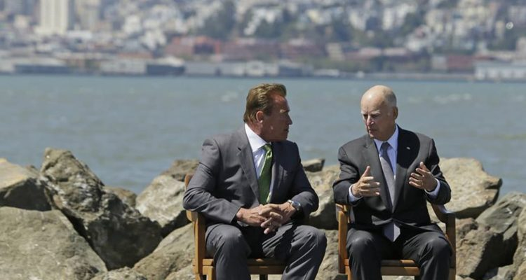 Photo of former Gov. Jerry Brown, right, and former Gov. Arnold Schwarzenegger