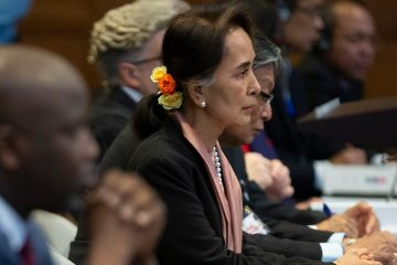 Photo of Myanmar's leader Aung San Suu Kyi and Gambia's Justice Minister Aboubacarr Tambadou