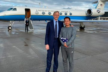 Photo of special representative for Iran, Brian Hook with Xiyue Wang in Zurich, Switzerland