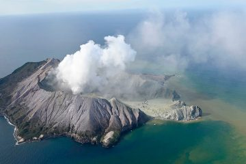 Photo of White Island after its volcanic eruption in New Zealand