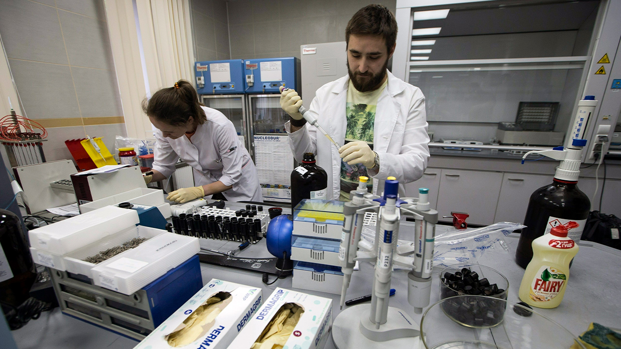 Photo of lab technicians working at Russia's national drug-testing lab