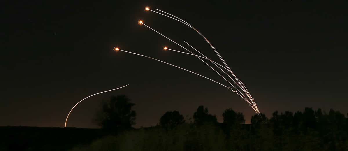 Photo of Israeli Iron Dome defense taking out rockets fired from Gaza