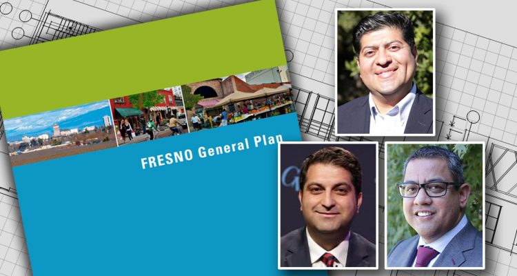 Composite image of Fresno General Plan cover and councilmen Luis Chavez, Miguel Arias, and Mike Karbassi