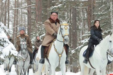 Photo of Kim Jong Un riding on a white horse