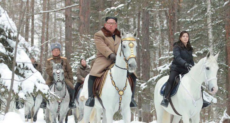 Photo of Kim Jong Un riding on a white horse