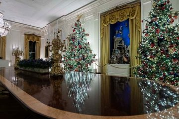 Photo of the East Room is decorated during the 2019 Christmas preview at the White House,