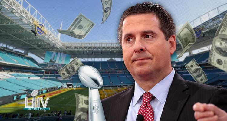 Photo illustration of Rep. Devin Nunes at the Super Bowl with money flying around him