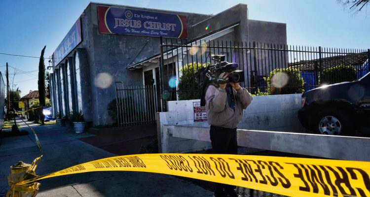 Photo of crime scene tape around the grounds of the Kingdom of Jesus Christ Church in the Van Nuys section of Los Angeles