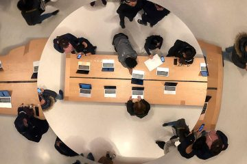 Photo of looking down through skylights above Apple's flagship store on Fifth Avenue