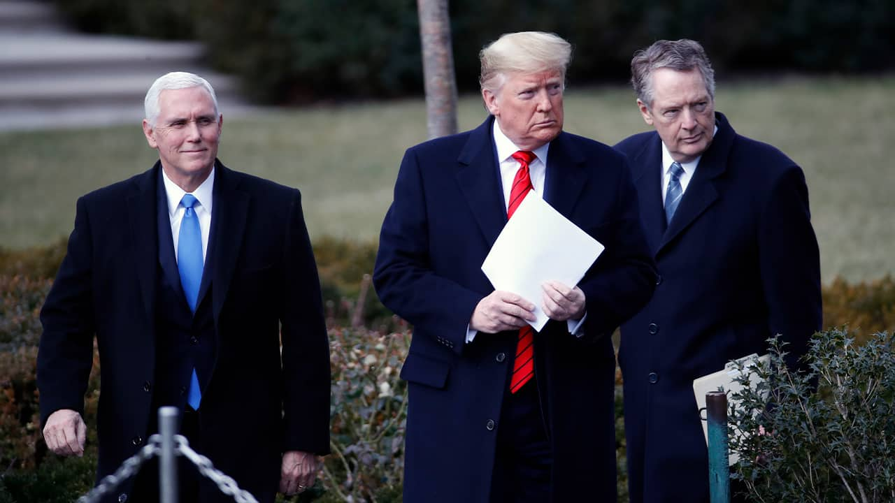 Photo of President Donald Trump, Vice President Mike Pence, left, and U.S. Trade Representative Robert Lighthizer