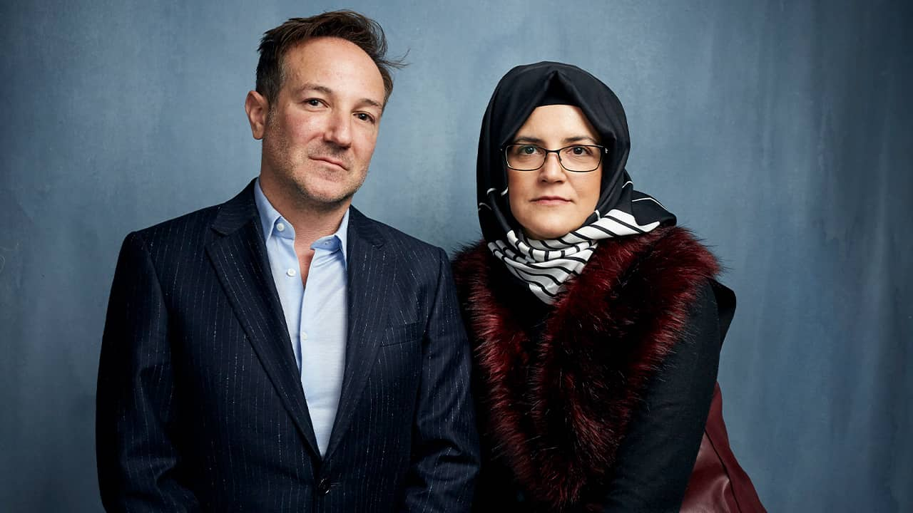 Photo of Bryan Fogel, left, and Hatice Cengiz