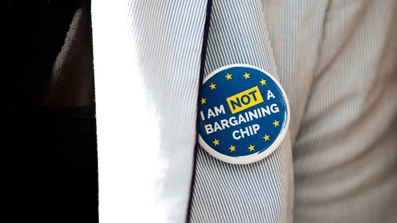 Photo of a button which reads 'I am not a bargaining chip.'