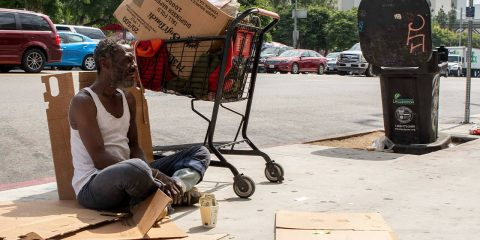 Photo of Will panhandling on the sidewalk