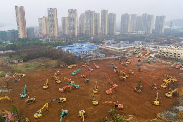 Photo of heavy equipment working at a site in Wuhan