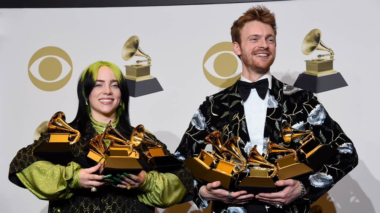 Photo of Billie Eilish, left, and Finneas O'Connell
