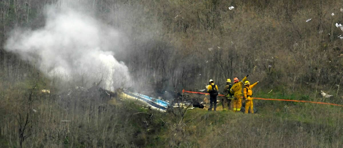 Photo of the scene of a helicopter crash where former NBA star Kobe Bryant died