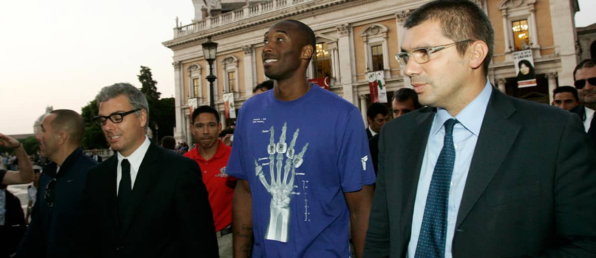 Photo of Kobe Bryant at the Campidoglio, or capitol hill, in Rome, Italy