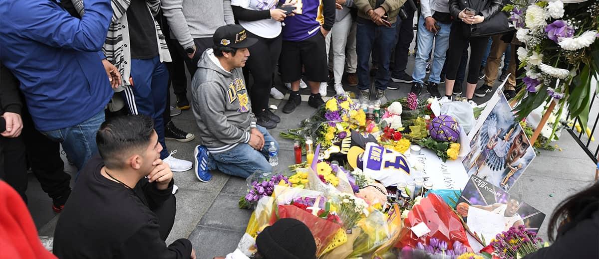 Photo of a memorial near the Staples Center