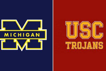 The Michigan and USC football logos side by side