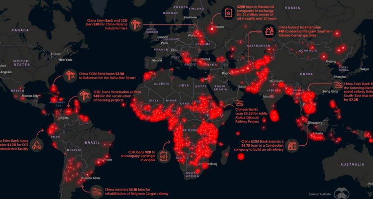 Photo of a map showing China's mega-projects throughout the world