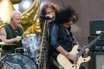 Photo of Aerosmith's Joey Kramer, Steven Tyler, and Joe Perry