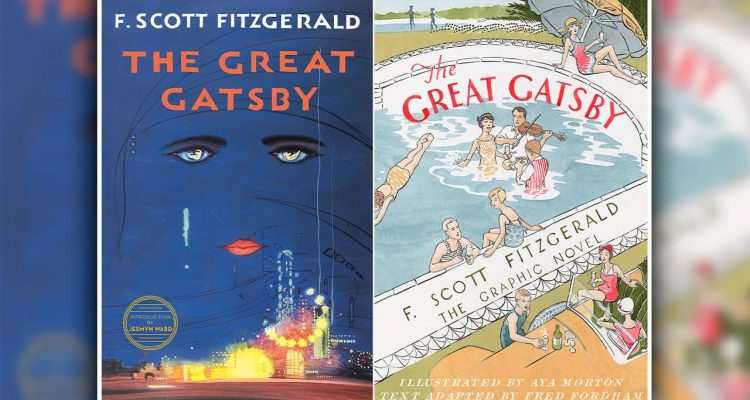 "Photo of book covers for F. Scott Fitzgerald's ""The Great Gatsby"""
